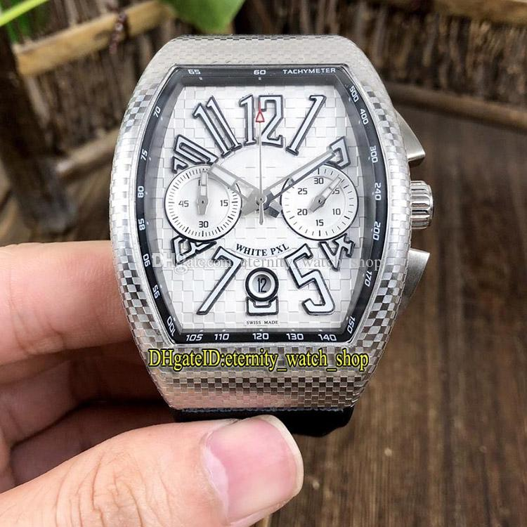 High-quality NEW SARATOGE PXL V 45 CC DT IRON PXL Silvery Dial Japan VK Quartz Chronograph Movement Mens Watch Rubber Strap Sport Watches