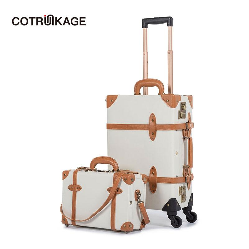 3f384987b72b COTRUNKAGE 20 Carry On Suitcase TSA Lock Vintage Suitcase Rolling Trunk 2  Piece Luggage Set for Women with 13 Cosmetic Case
