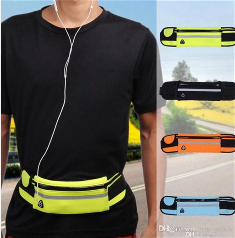 Waterproof Sport Runner Waist Bum Bag Running Jogging Belt Pouch Zip Fanny Pack Fitness Packs 50pcs