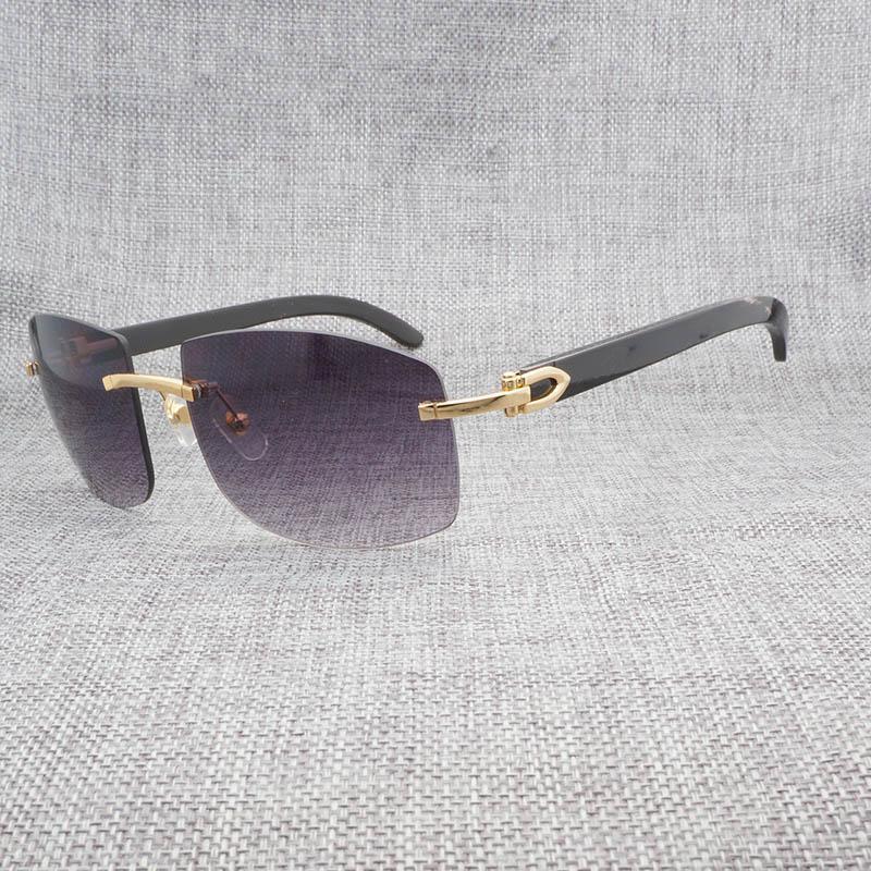08c5ae3cf468c Natural Black Mix White Buffalo Horn Rimless Sunglasses Men Vintage Wood  Oversize Eyewear Shades For Outdoor Oculos Wooden Gafas Sunglasses Cheap  Sunglasses ...