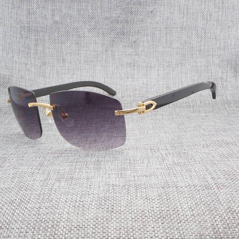 36781d8ac7 Compre Natural Negro Mezcla Blanco Cuerno De Búfalo Sin Montura Gafas De  Sol Hombres Vintage Madera Oversize Gafas Para El Oculos Al Aire Libre  Gafas De ...