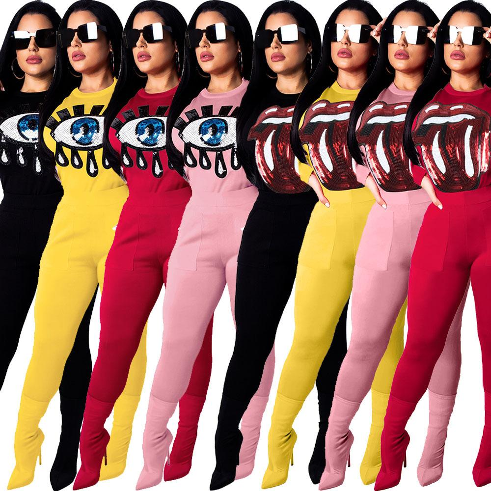 ac4e7d1e4485 2019 2019 New Women Sequins Winter Two Piece Set Big Mouth Eye Hoodie  Leggings Tracksuit Pullover Bodycon Pants Outfits Sweat Suit Sweatshirt Tig  From ...