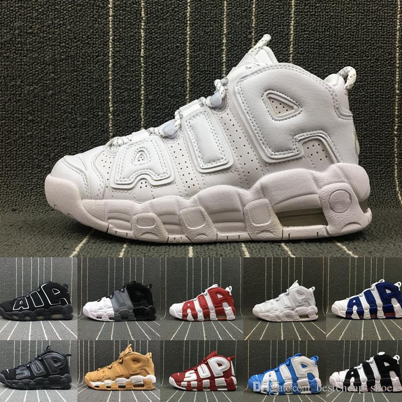 separation shoes 1d05a 53c31 Scarpe Scontate 2019 New Air More Uptempo 96 QS Olympic UNC Bianco Mens  Scarpe Da Basket Uomo Scottie Pippen Scarpe Designer Sneakers Marca Scarpe  Da ...