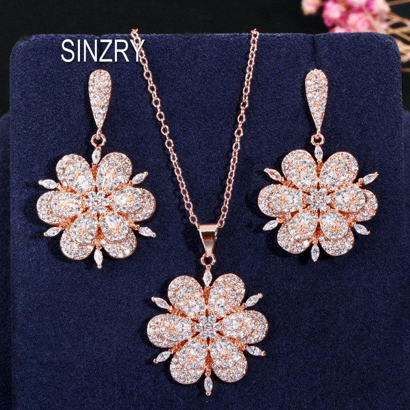 wholesale luxury CZ jewelry set cubic zirconia micro paved solid flower pendant necklace earring jewelry set lady costume jewellery