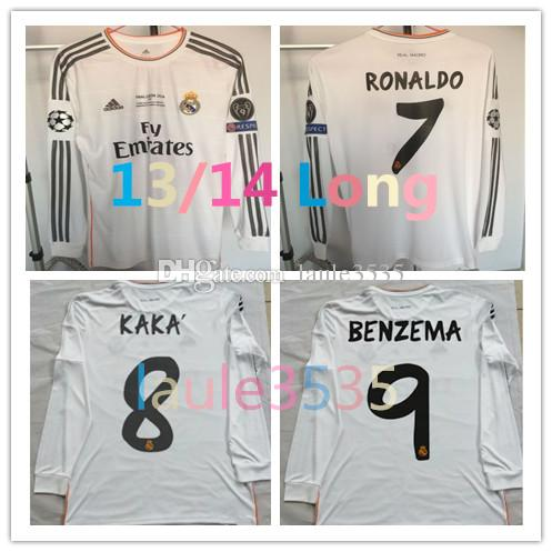 the latest 5a03a 49484 Ronaldo Benzema Bale Isco Morata 2013 2014 Real Madrid retro soccer jersey  13 14 vintage football shirt long sleeve Champions League final
