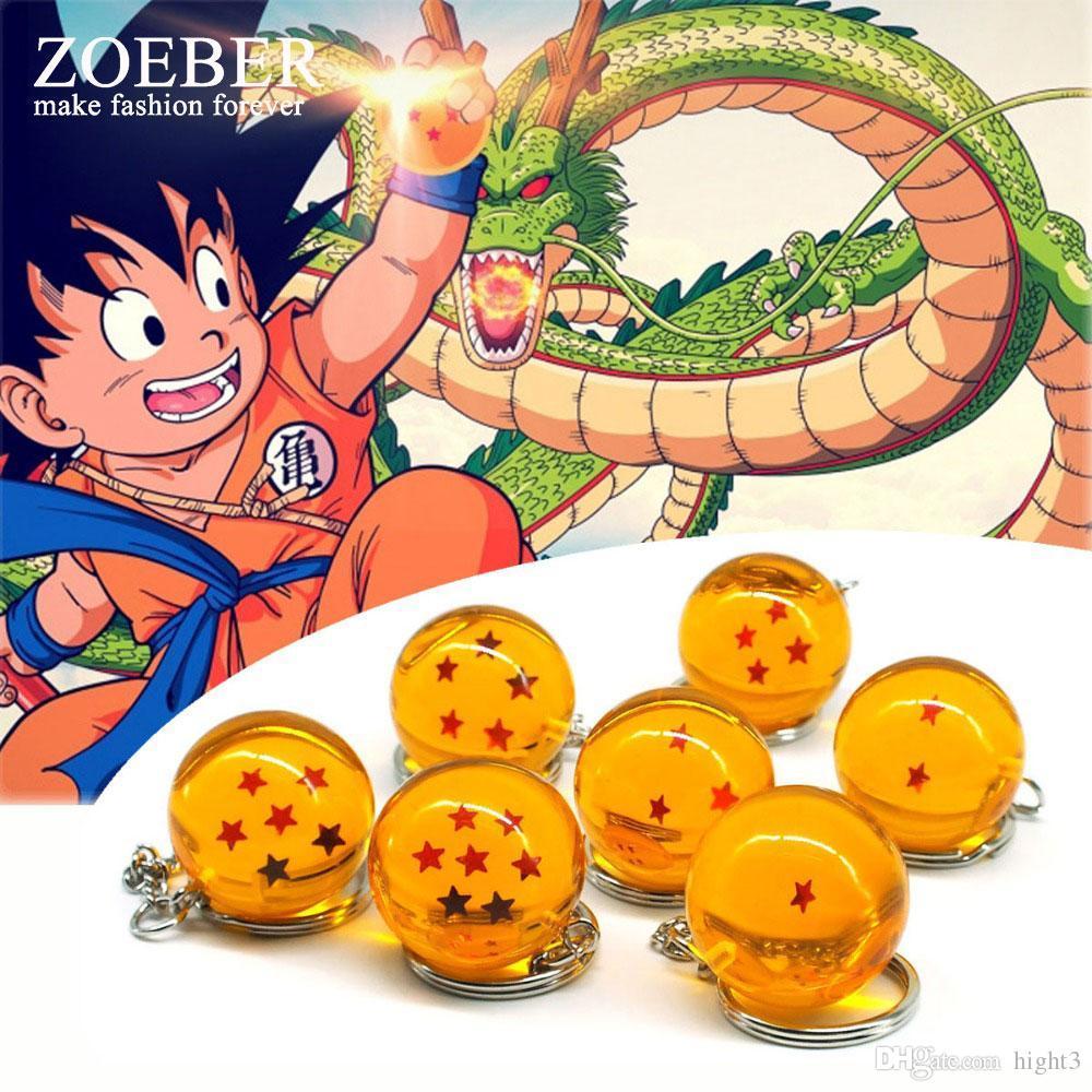 Zoeber dragon ball z keychain cartoon dbz child anime 2 7cm crystal ball 1 7 stars cosplay ball keyrings car bag key holder leather key case custom key