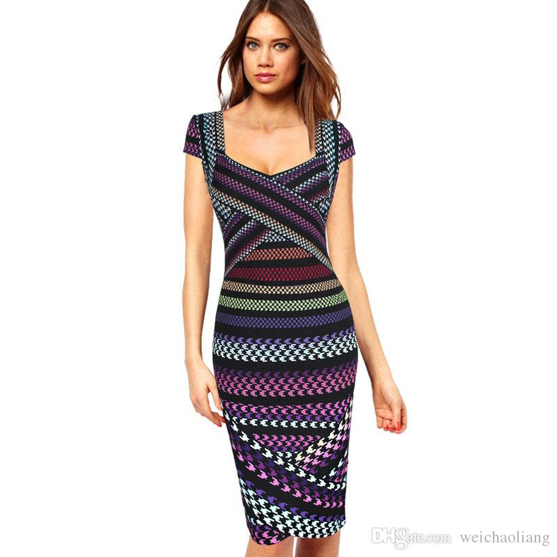 9783bb5b99c 2019 Lcw New Womens Sexy Geometric Striped Houndstooth Print Asymmetric  Patchwork Casual Party Club Evening Bodycon Pencil Dress From Weichaoliang