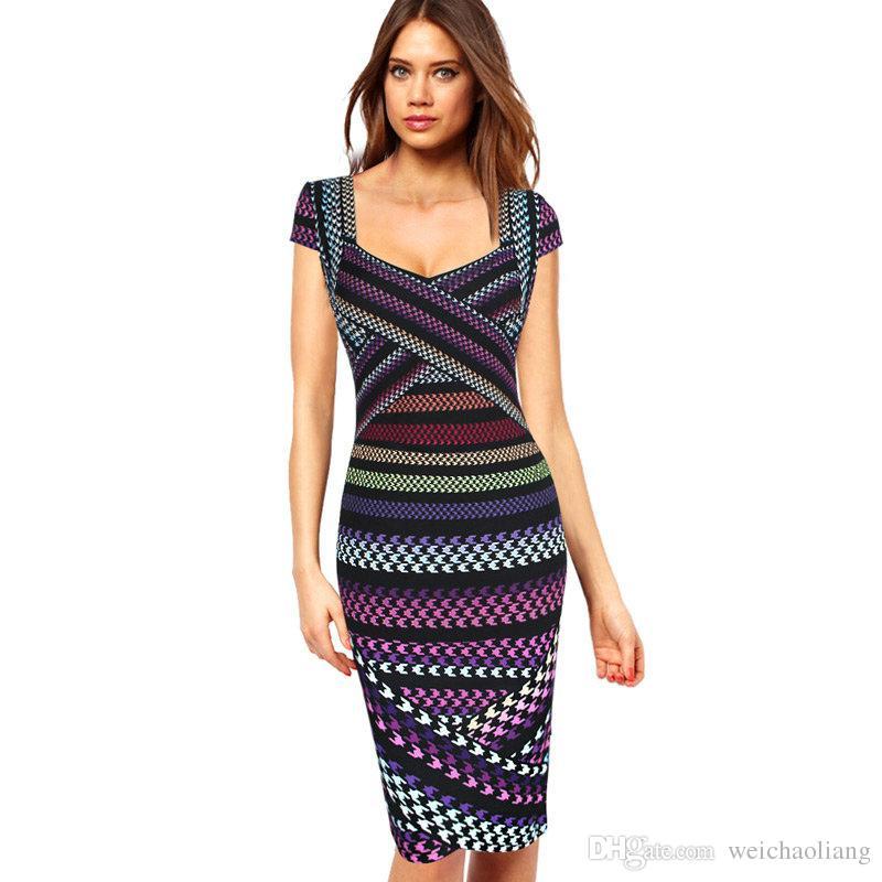 a099abd78737e Satın Al Lcw Yeni Bayan Seksi Geometrik Çizgili Balıksırtı Baskı Asimetrik  Patchwork Casual Parti Kulübü Akşam Bodycon Kalem Elbise, $27.74    DHgate.Com'da