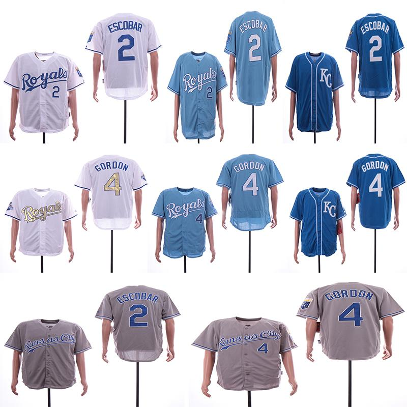 innovative design 99133 d770f Men's Kansas City 4 Alex Gordon Jerseys 2 Alcides Escobar Color Gray Red  Black White Top Quality Baseball Jersey