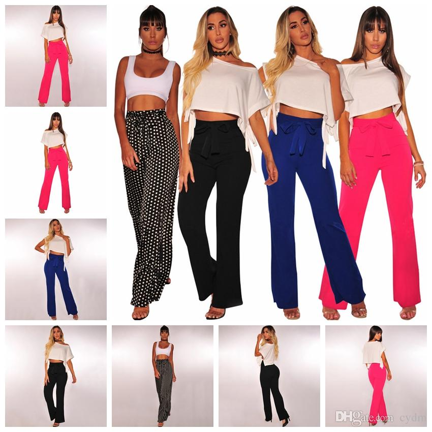 f1e37a0f7179 Casual Long Pants European Fashion Explosive Bow Ties Slings Straight S, M,  L, XL Support Mixed Batch Pure Color Casual Straight Leg Pants High Waist  Belt ...