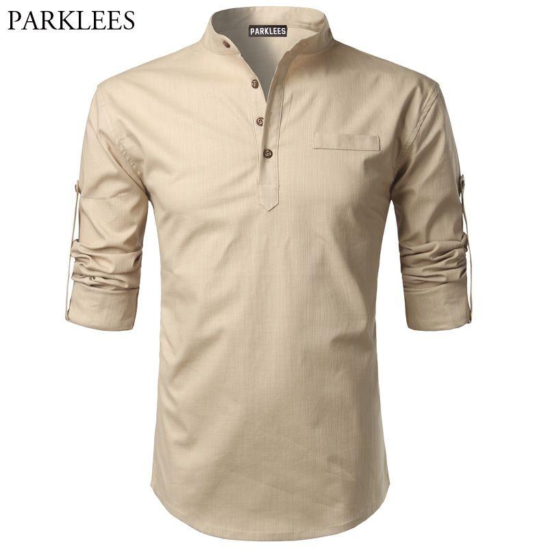 d0539c43 Cotton Linen Shirt Men 2017 Autumn Men's Shirt Roll UP Sleeve Slim Fit Male  Shirts Camisas Masculinas Casual Mens Dress