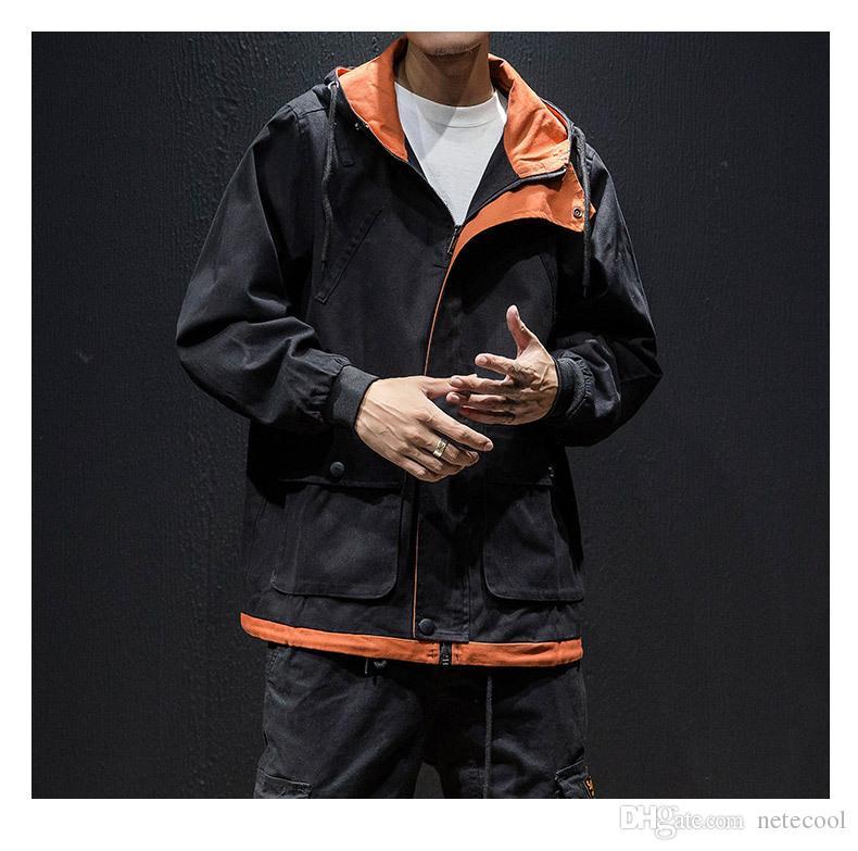 Compre De Contraste Prendas De Vestir Exteriores Abrigo Para Hombre Ropa  Streetwear Hombres Chaqueta Hombres High Street Hoodies Hip Hop Chaquetas  Ropa De ... 398b11fc137