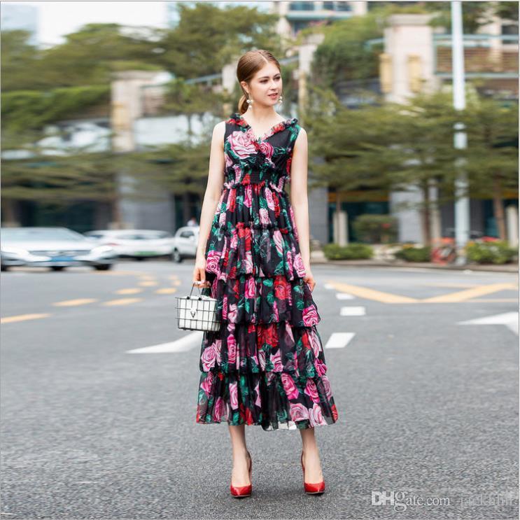 b8140d5ec66a Satın Al Seksi 2019 Yaz Moda Kadın Tek Parça Elbise V Boyun Çiçek ...