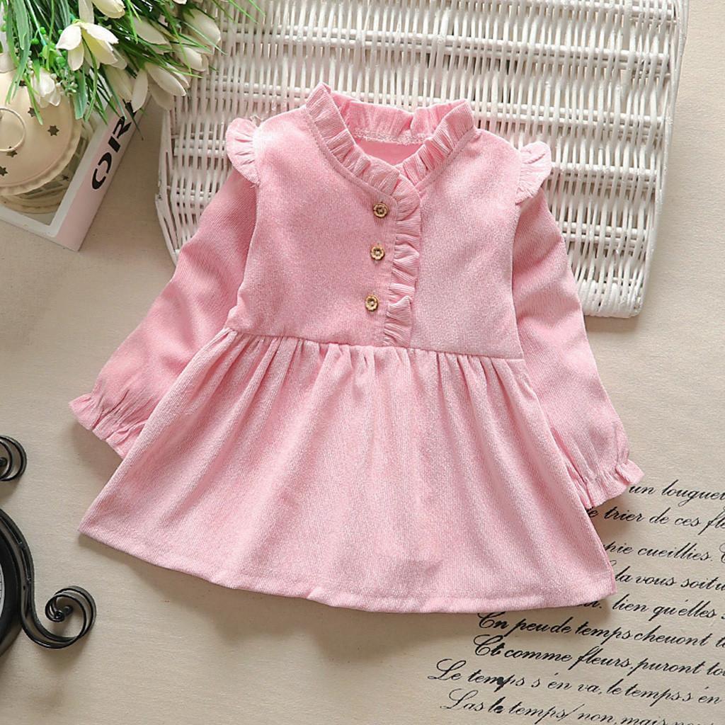 177951d50 Compre Vestido Da Criança Crianças Roupa Da Menina Do Bebê Manga Comprida  Sólida Partido Vestido De Princesa Roupas De Bebê Tops Primeira Roupa De ...
