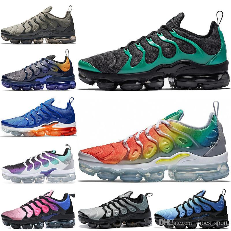 timeless design c671d bacc1 Acquista Nike Air Vapormax Plus TN VM 2019 New TN Plus Scarpe Da Corsa Nero  Verde Arcobaleno DARK STUCCO Fades Blu Grigio Nero Uomo Donna Sport  Sneakers 36 ...