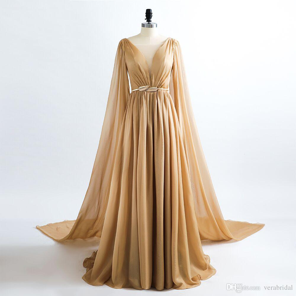 2019 Collection Robe De Soiree Sheer V Neck A Line Sexy Evening Dress  Chiffon Floor Length Gowns Evening Party Long Gown Saree Prom Dresses Long  Evening ... 12997225cc2e