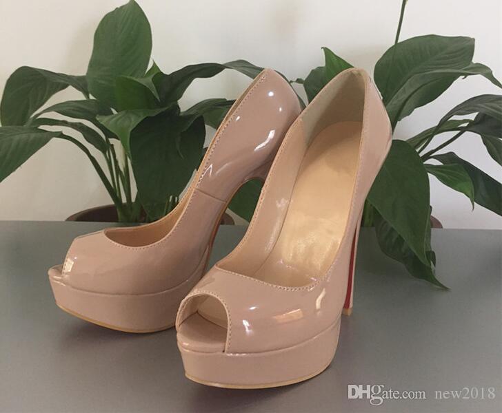 351547ebf Compre Lucky2019 Clássico Sapatos De Salto Vermelho Nude / Preto Couro Peep  Toe Mulheres Vestido De Casamento Sandálias Sapatos 34 42 De Dresshoes, ...
