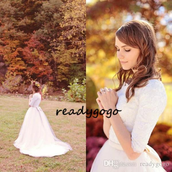 2019 Wedding Dresses Half Sleeves Christmas Gowns Scoop Lace Tulle Western Modest Country Wedding Bridal Gowns vestidos de novia