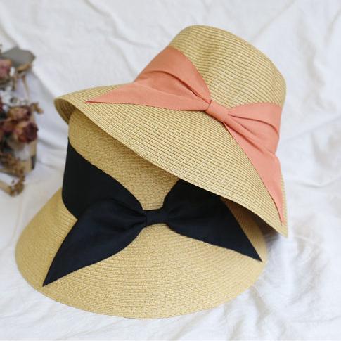 0af6f8d4a Women Bow Straw Sun Hats Lady Foldable Beach Hat Fashion Bow Tie Handmade  Wide Brim Travel cap TTA590