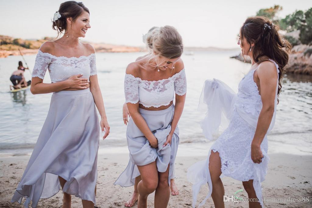 Affordable Beach Two Pieces Bridesmaids Dress 2019 With Short Sleeves Tea Length Side Slits Lace Designer Wedding Guest Boho Dress