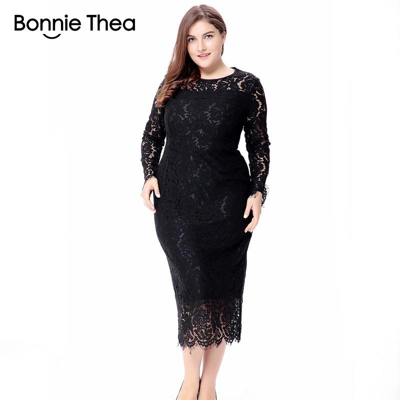 fcd59b83003 Women Black White Red Plus Size Lace Dress Autumn Elegant 6xl Large ...