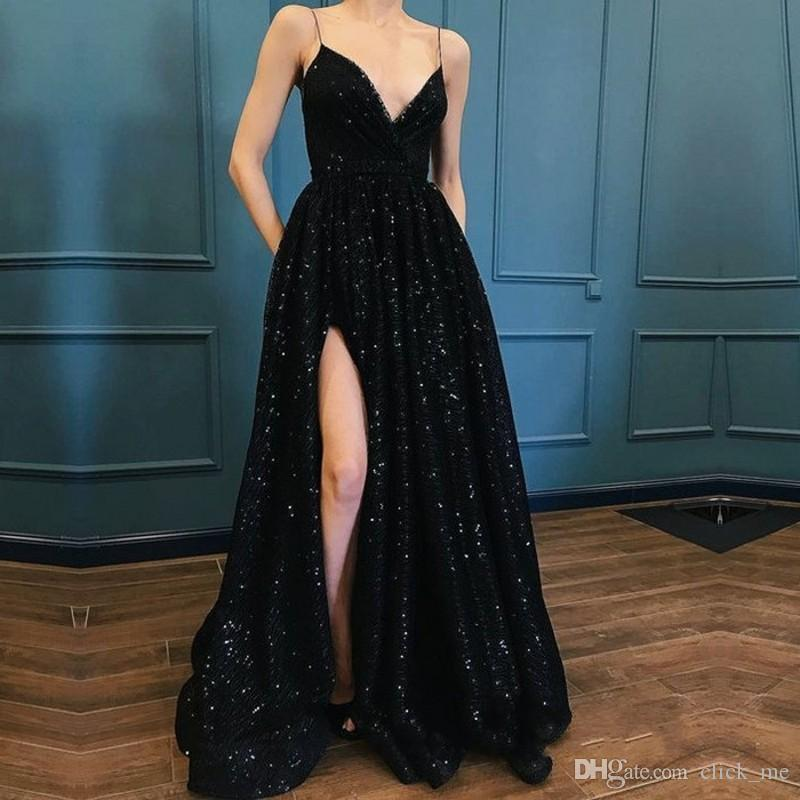 9d6a098ce50 Black Spaghetti Straps Prom Dresses Sexy V Neck Side Split Sequined Evening  Dress Floor Length Custom Made Cocktail Party Dress Cheap Prom Dresses For  Teens ...