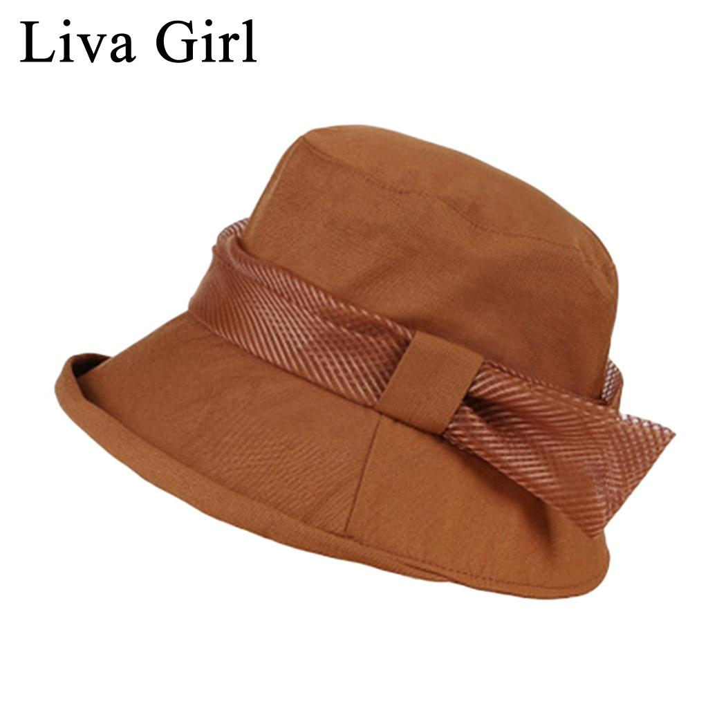 Liva Girl Brand Korean Style Bow Bucket Hats New Women Summer Sun  Protection Fishing Hats Visor Outdoor Beach Fisherman Cowgirl Hats Fishing  Hats From ... 035a6700ff5
