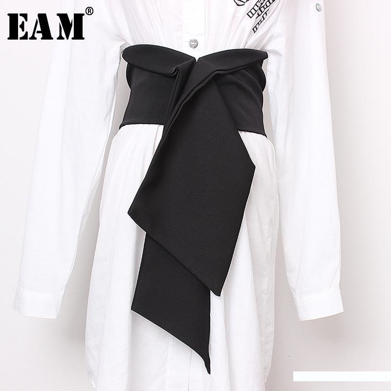 [EAM] Black Split Joint Big Size Bow Elastic Belt Personality Women New Fashion Tide All-match Autumn Winter 2019 JS634