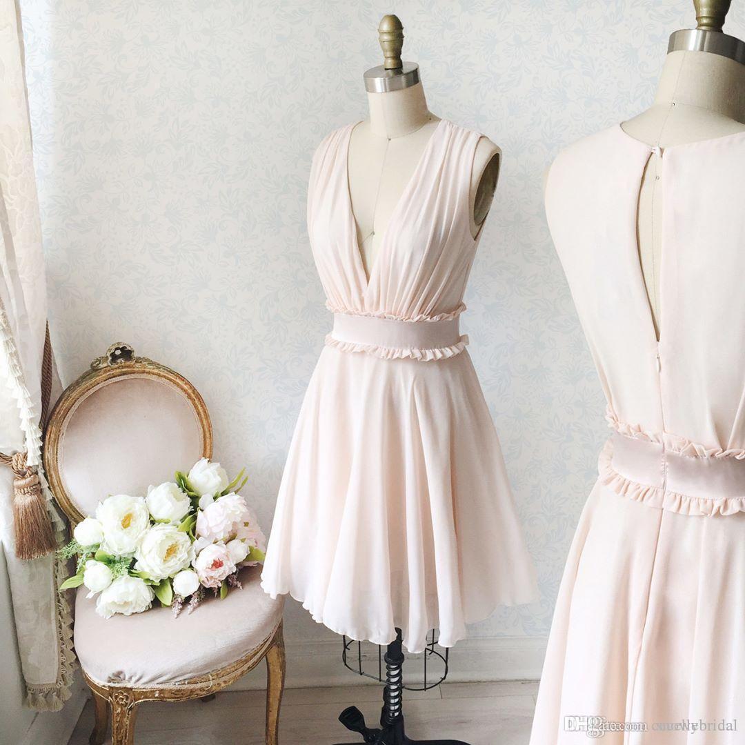 4278b313d8dcd Satın Al Utangaç Pembe A Line 2019 Kısa Lise Mezuniyet Elbiseleri Kolsuz  Seksi Derin V Boyun Yaz Şifon Kız Gayri Parti Elbise, $110.31 |  DHgate.Com'da