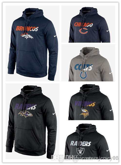 huge selection of f9ecb 47067 2018 Men hot Colts Ravens Vikings Raiders Bears Broncos Staff Performance  Pullover Hoodie Sweatshirt Outdoor Apparel