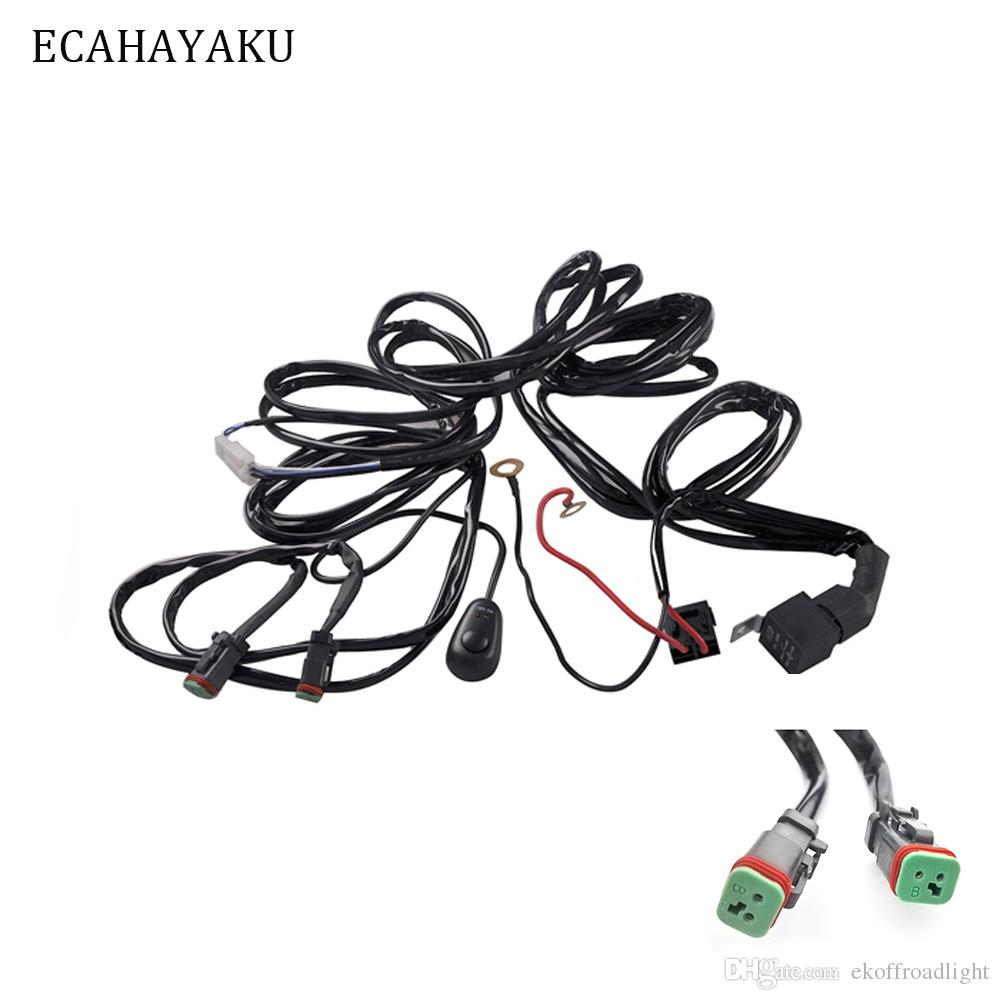 2019 ecahayaku car auto led work driving lights wiring loom harness offroad  light bar 3 metes wire cable 40a 12v 24v switch relay kit from  ekoffroadlight,