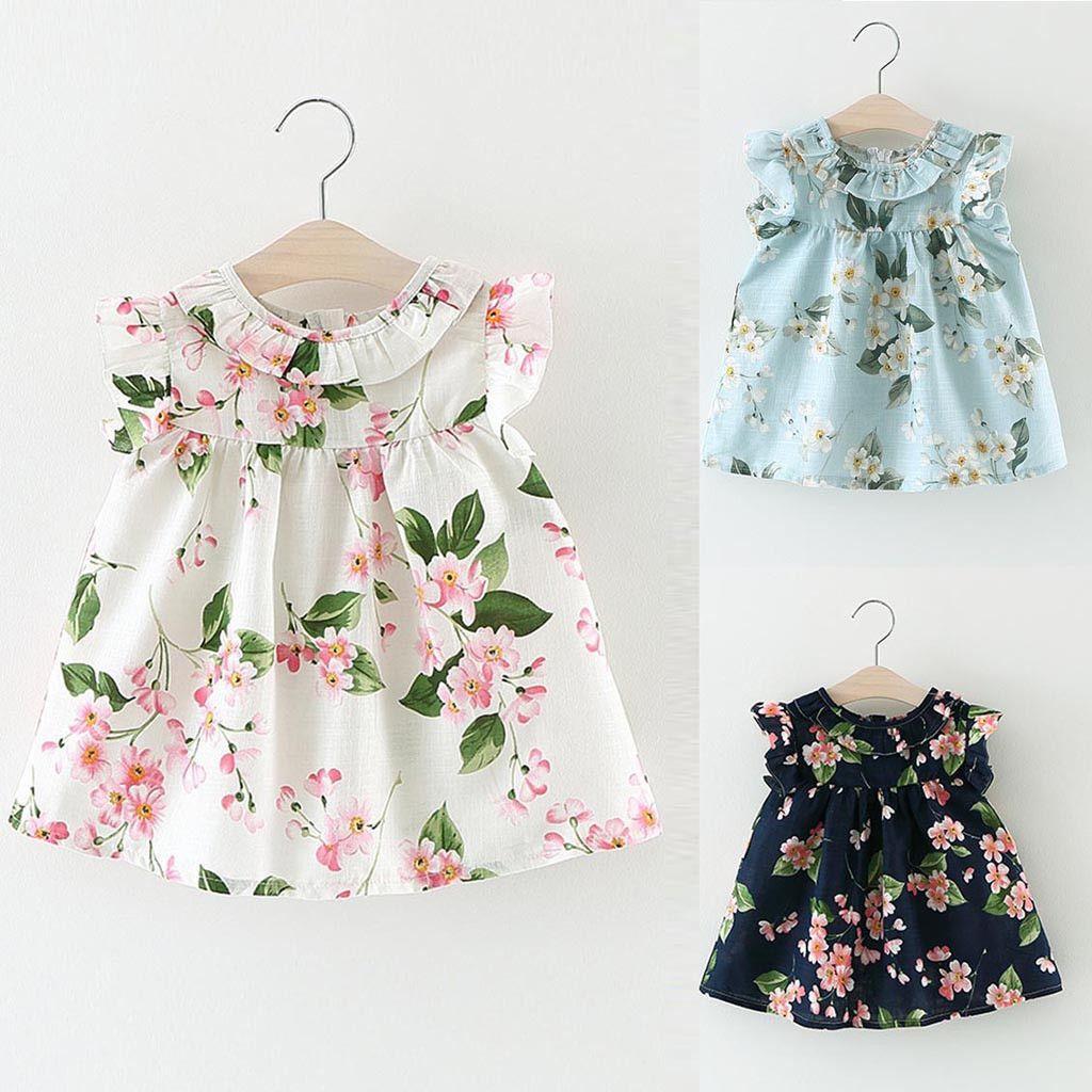 124752a9f Compre Ropa Para Bebés Niña Vestido Para Niñas Pequeñas Bebé Sin Mangas  Impreso Floral Fiesta Princesa Vestido De Niña Traje Bata Fille Ja03 A   29.46 Del ...