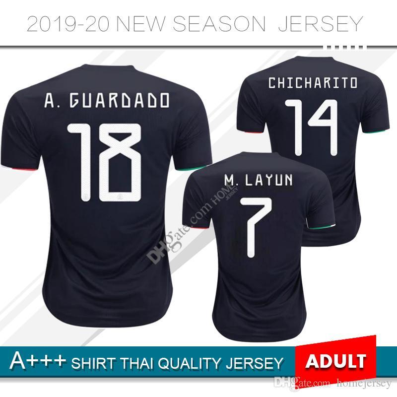 e484251a1 2019 2019 Mexico CCCF Gold Cup Soccer Jersey 19 20 Mexico  14 CHICHARITO   22 H.LOZANO Away Black Soccer Shirt Football Uniform Sale From Homejersey