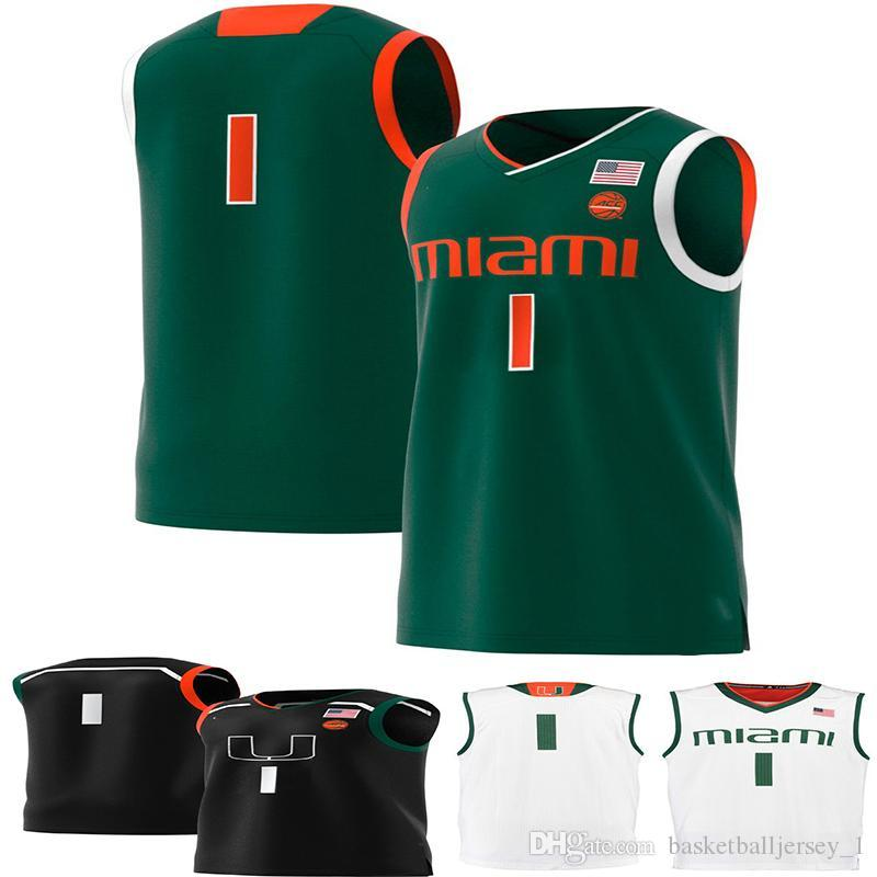 No.1 Miami Hurricanes Mens College Basketball Jersey green white embroidery Men Sport Jerseys size S-3XL