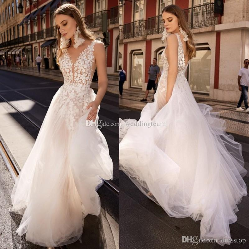 Discount New Lace Backless Boho Wedding Dresses Plunging Neck A Line Beach  Bridals Gowns Sweep Train Tulle Bohemian Vestidos De Noiva 1 Trans Ball Gown  ... 228bcfc40c6a