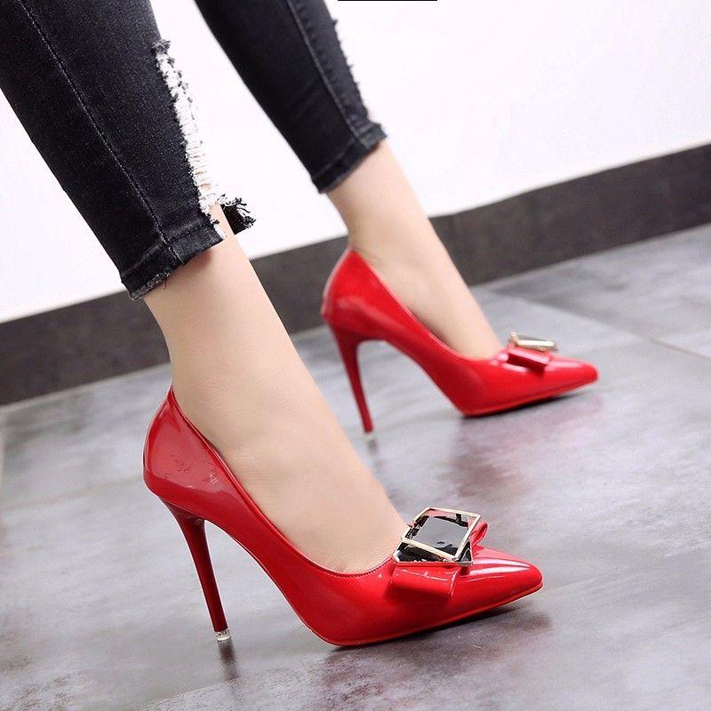 1cb43f7cd5f Compre 2019 Nuevos Zapatos De Mujer Con Tacones Altos De Boca Baja ...