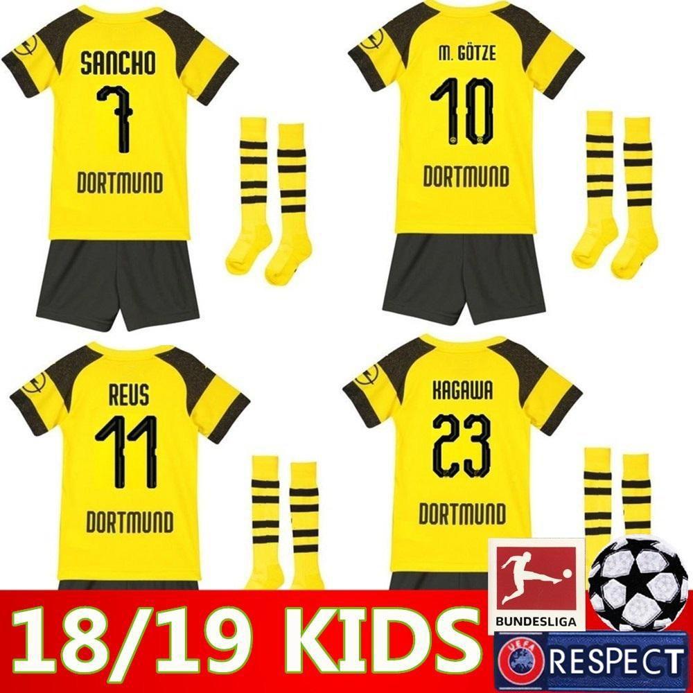 best service 04910 ceaf7 2019 kids kit Borussia Dortmund home soccer jersey uniform REUS PULISIC  M.GOTZE WITSEL Dortmund child BOYS football shirts