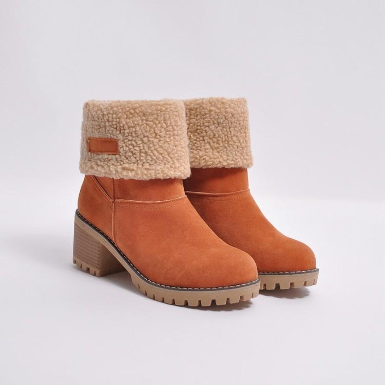 Damen Plüsch Gepolsterte Warme Schnee Befreiung Stiefel Schuhe Plus Größe 34 43 Herbst Winter Woomen Künstlerische Lamm Wolle Nubukleder Stiefeletten