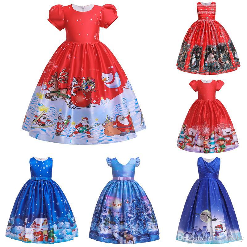 Christmas Princess.Christmas Theme Princess Dress 10 Design Girls Striped Printed Santa Claus Pleated Dress Kids Designer Clothes Girls Bow Tie Zip Dress 06
