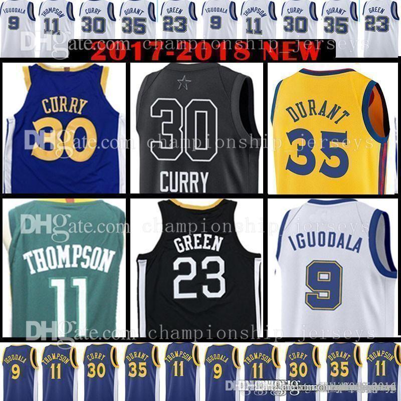 15fd531ebb3 2019 30 Stephen Kevin 35 Durant Curry Jerseys Draymond 23 Green Klay 11  Thompson Andre 9 Lguodala Golden 2019 State City Warriors Jerseys From ...