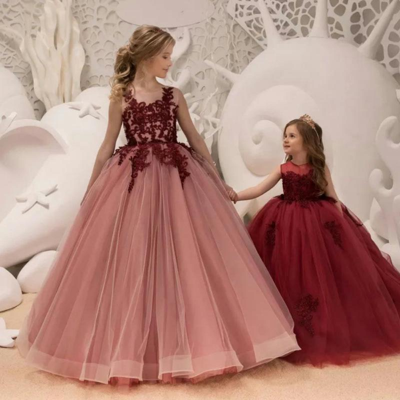 1bd59428257c Arabic 2019 Floral Lace Flower Girl Dresses Ball Gowns Child Pageant Dresses  Long Train Beautiful Little Kids FlowerGirl Dress Formal Gown Girls Holiday  ...