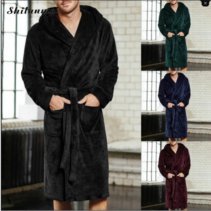 2018 New Winter Men Luxury Bathrobe Mens Warm Silk Flannel Long Kimono Bath  Robe Home Clothes Male Night Dressing Gown Bathrobes UK 2019 From Junxcj 7d1e1262d815