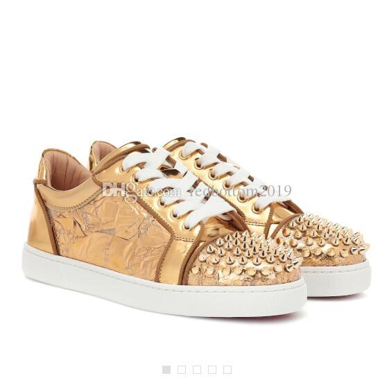a02e404b46c Elegant Low-top Style Golden embellished Leather Vieira Spikes Sneakers Red  Bottom Luxury Men s Leisure Women Men Red Sole Outdoor Trainers