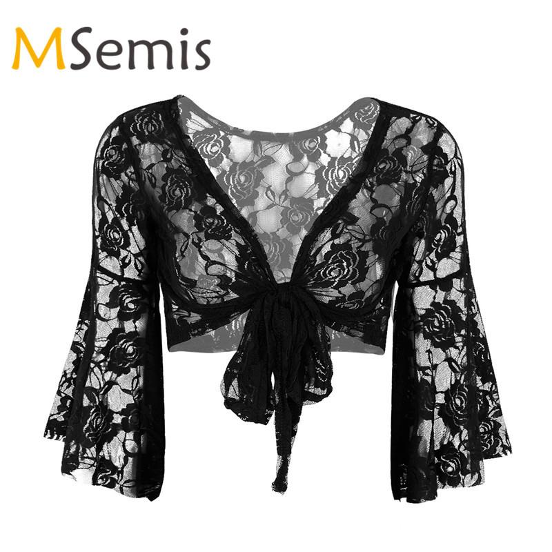 4f503f4618238 MSemis Womens Chiffon Bolero Shrug Jacket Half Sleeve Sheer Open Front Cardigan  Top Shrugs Sweaters