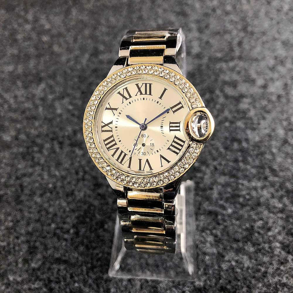 Horloge Quartz Dames Luxe Acier Montre De Montres En Femme Romains Heures Rond Belle Inoxydable Chiffres eD29YWEHI