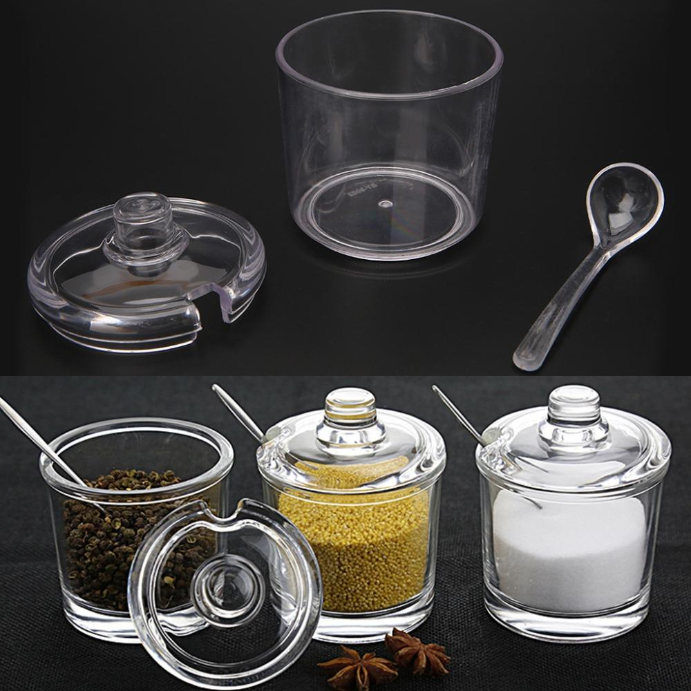 Transparent Acrylic Seasoning Can With Spoon Spice Jar For Salt Sugar Pepper Powder Kitchen Supplies 8x7.5cm