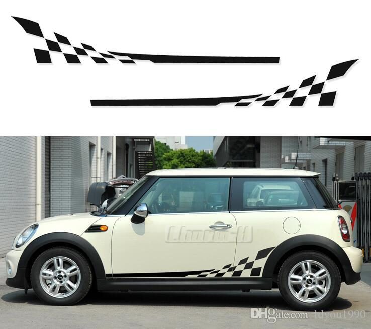 2pieces Checkerboard Checkered Flag Door Side Stripes Decal Stickers for  Mini Cooper R56 R50 R52 R53 F56 R60 Countryman Accessor