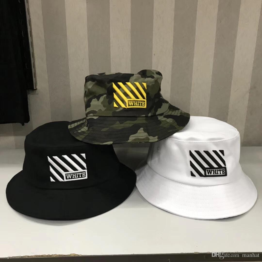 2019 New White Travel Fisherman Leisure Bucket Hats Solid Color Fashion Men  Women Flat Top Off Wide Brim Summer Cap Online with  10.86 Piece on  Manhat s ... 53a9aec22b70