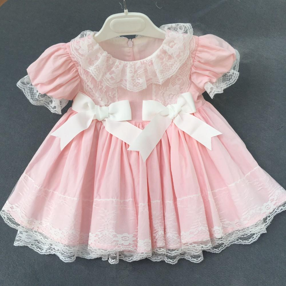 a4f1f820a 2019 Girls Vintage Dress Pink Ruffles Lace Bow Party Baby Frock For Kids  Dresses For Girls Clothing Birthday Cotton Children Wedding From Sophine13,  ...