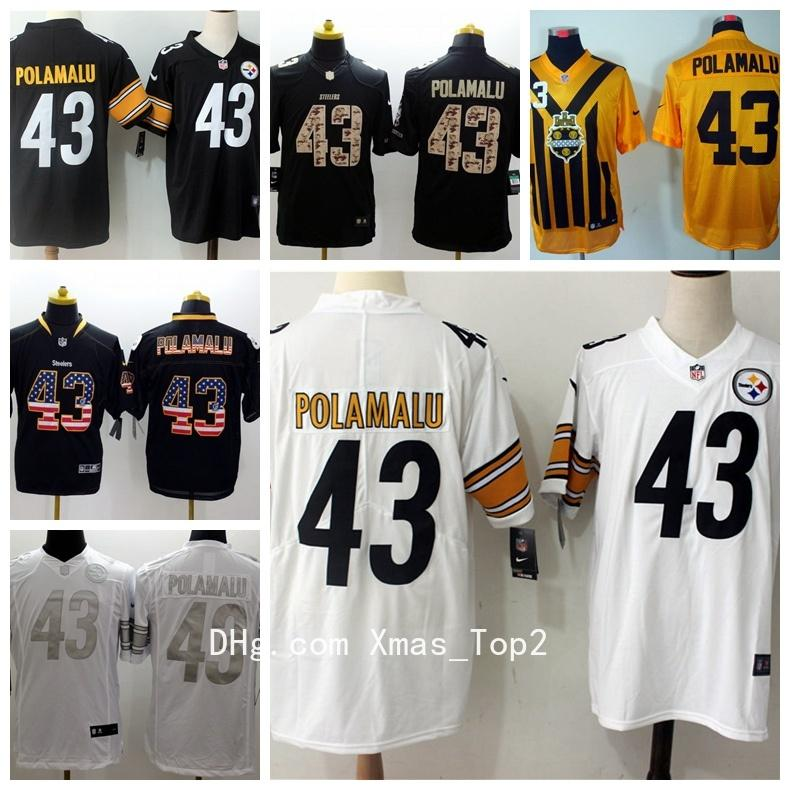 2019 New Mens 43 Troy Polamalu Jersey Pittsburgh Steelers Football Jerseys  100% Stitched Embroidery Troy Polamalu Color Rush Football Shirts Graphic  Tees ... f5c7ad730